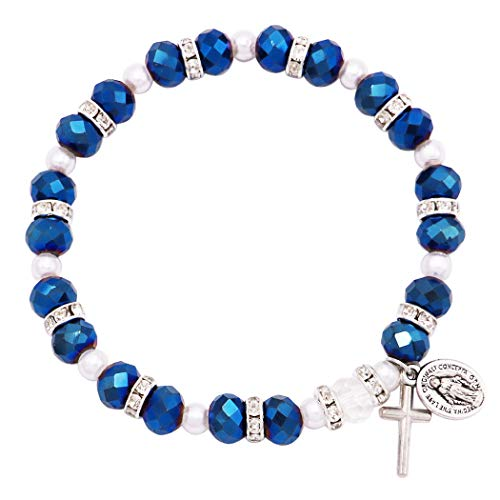 Rosemarie Collections Women's Beaded Stretch Rosary Bracelet with Crucifix and Miraculous Medal (Sparkle Blue)