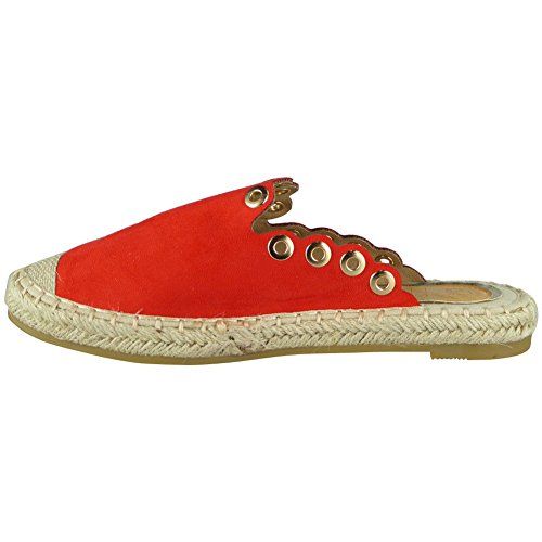 Loud Look Womens Ladies Espadrilles Sliders Slip On Flats Shoes Slides Comfy Slippers Size 3-8 Red 1mx6SmRX