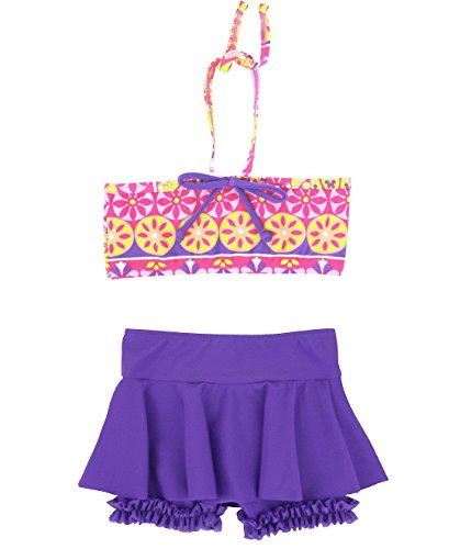 RuffleButts® Infant / Toddler Girls Divali Skirted Halter Bikini - Pink - 18-24m
