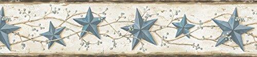 June Blue Heritage Tin Star Wallpaper Border (Americana Wall Borders)
