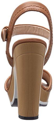 Tommy Donne Hilfiger Weslee Open Toe Sandali Piattaforma In Pelle Casual Cognac