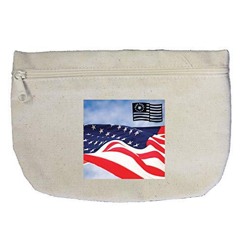 America's Flag Old Glory Cotton Canvas Makeup Bag Zippered Pouch