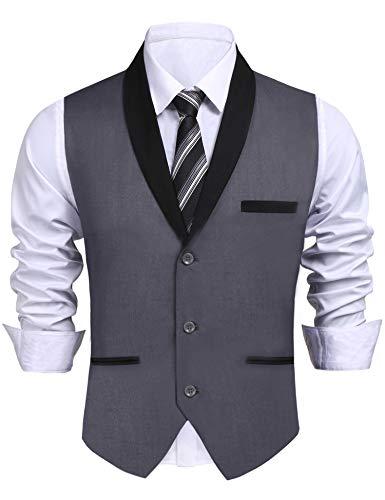 Daupanzees Men's Suit Vest Designer Solid V-Neck Single Breasted Lapel Slim Fit Business Dress Waistcoat (Gray M) by Daupanzees