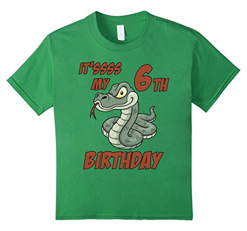 unisex-child Kids 6th Birthday Snake T-Shirt for 6 Yr Old Boys / Girls 8 Grass - Kid Snake Girl