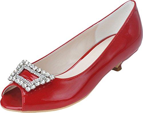para de Peep Mujer 0700 de Rojo bajo Vimedea 05 con Vestido Boda Puntas Tacón HqwXZ