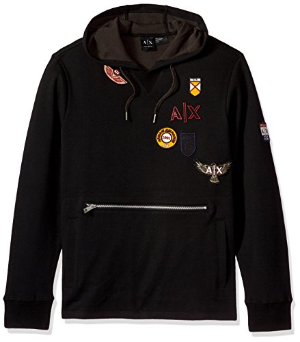 A|X Armani Exchange Men's Oversized Hoodie With Vintage Inspired Patches, EXT Black/Rev Cypre, - Armani Men Sweater Exchange