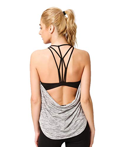Women's Criss Cross Open Back Yoga Workout Tank Tops with Build in Bra Strappy Activewear (Light Gray, M)