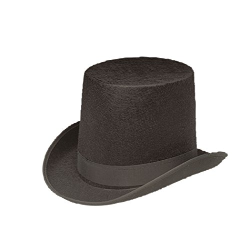 Jacobson Hat Company Men's Permalux Coachman Top Hat 7 Inch Tall, Black, Adult Small