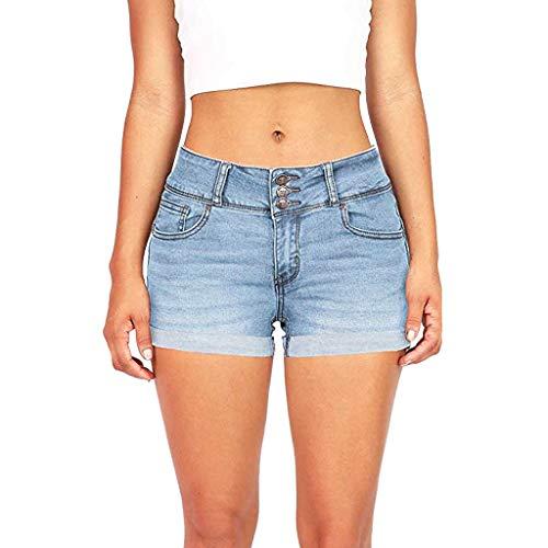 yijiamaoyiyouxia Summer Women Casual Washed Denim Short Pants Single Breasted Mini Short Jeans Low Waist Calf Shorts
