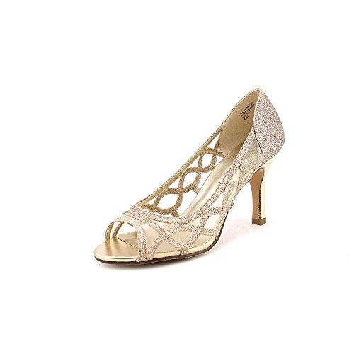 Karen Scott Khat Womens Size 7.5 Gold Open Toe Pumps Heels Shoes