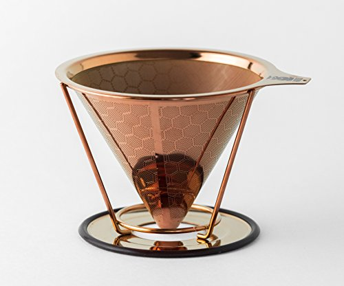 HIBOU - Copper Coated - Pour Over - Coffee Filter - Paperless - Reusable & Ecofriendly - Honeycomb Design Dripper - Coffee Brewer - Chemex - Bodum - Carafe Compatible -