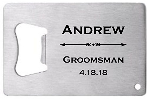 Lazer Designs Groomsman Credit Card Bottle Opener Personalized Monogrammed For Free Stainless Steel Arrows 1 Pc -