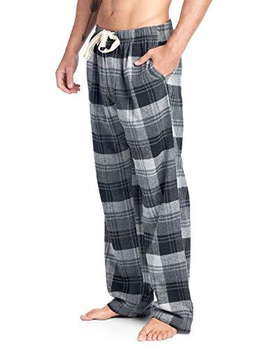 Ashford & Brooks Mens Super Soft Flannel Plaid Pajama Sleep Pants - Grey Plaid - Medium