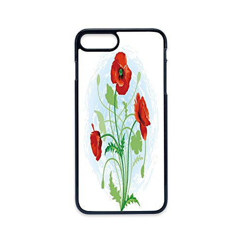 Phone Case Compatible with iPhone7 Plus iPhone8 Plus 2D Print Black Edge,Floral,Poppy Flowers Bouquet Meadow Beauty Rural Petal of Fragrance Image,Scarlet Fern Green Pale Blue,Hard Plastic Phone Case