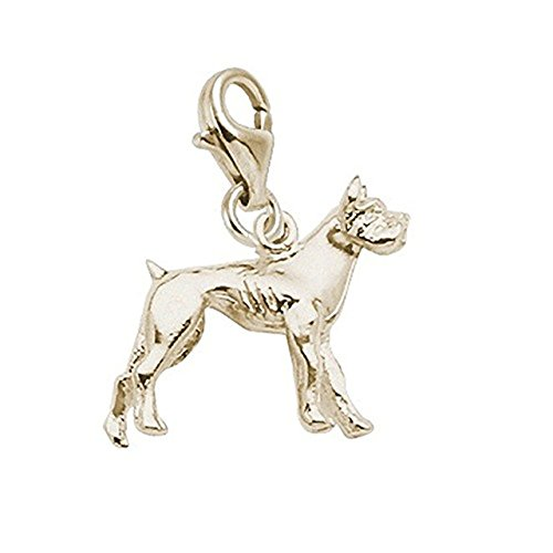 14K Yellow Gold Boxer Dog Charm With Lobster Claw Clasp, Charms for Bracelets and Necklaces ()
