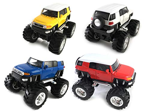 HCK Set of 4 2014 Toyota FJ Cruiser Off Road Monster Truck with Big Wheel Pull Back Toy Cars 1:38 Scale (Blue/Yellow/White/Red)