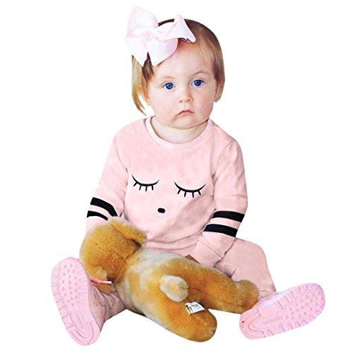 Omiky® 2 Stücke Kleinkind Neugeborenen Babys Augen Streifen Druck Tops Hosen Outfit Set Kleidung Rosa
