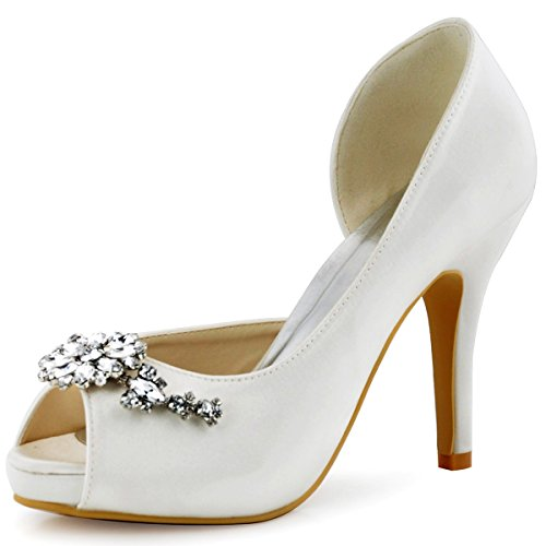 Elegantepark Donne Tacco Alto Pompe Piattaforma Peep Toe Dorsay Strass Raso Da Sposa Scarpe Da Sposa Ab01 Bianco