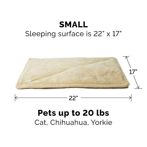 Furhaven Pet Dog Bed Heating Pad - ThermaNAP Quilted Faux Fur Insulated Thermal Self-Warming Pet Bed Pad for Dogs & Cats, Cream, Small