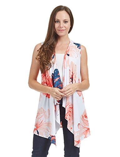 Lock and Love WSK1350 Womens Lightweight Print Draped Sleeveless Cardigan XL Navy_Coral