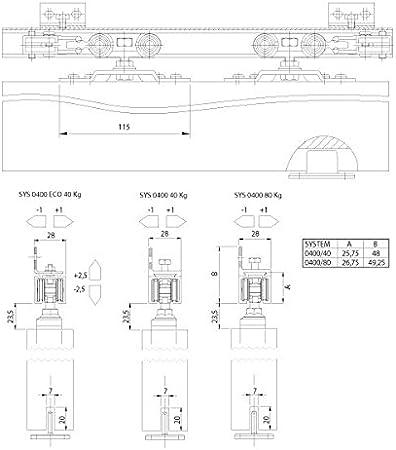 Koblenz - Kit de Sistema Deslizante para Puerta con riel, 150 cm, 40 kg, Carga máxima: Amazon.es: Hogar