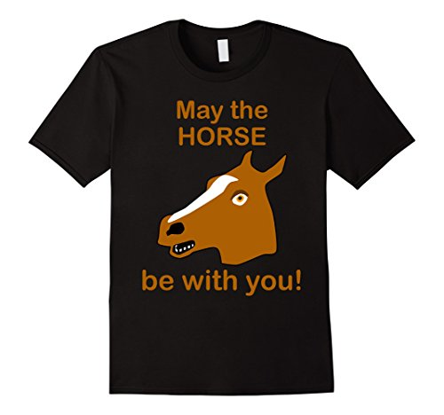 Mens Horse Mask May the Horse be with you! Funny Novelty Tee Small Black