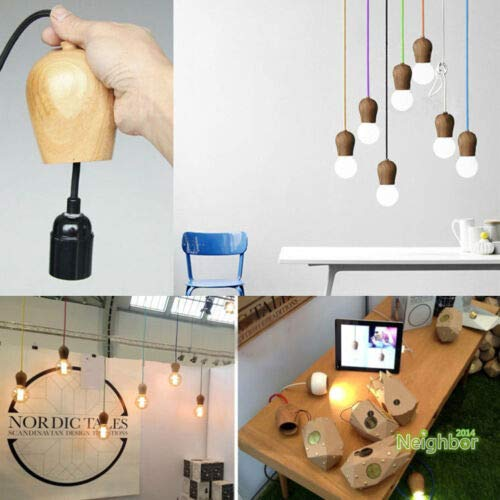 FidgetGear Modern Colorful Wood E27 DIY Ceiling Lamp Holder Hanging Pendant Lights Fixture Red by FidgetGear (Image #4)