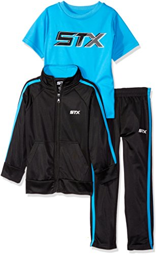 STX Little Boys' Toddler Tricot Jacket and Pant with Logo T-Shirt, Black/Turquoise, 4T (Logo Tracksuit)