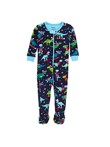 Hatley Baby Boys' Organic Cotton Footed Sleeper, Winter Sports T-Rex, 0-3 Months ()