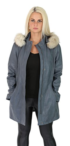 Ladies Duffle Leather Coat Hooded Fitted ¾ Long Parka Jacket Black Brown Blue Nina (Sky Blue, Large) ()