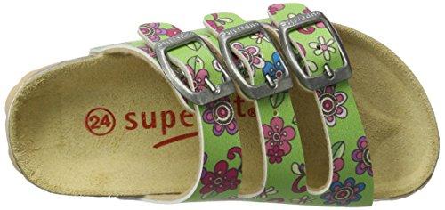 Superfit Mädchen Fussbettpantoffel Pantoffeln Grün (Grün)