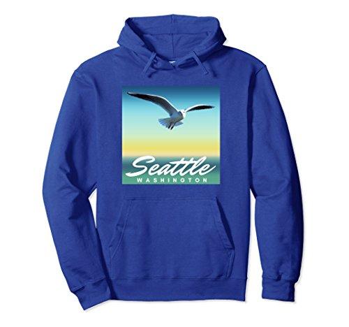 Sea Gull Sweatshirt (Unisex Seattle WA Hoodie, Washington Seagull Pullover 2XL Royal Blue)