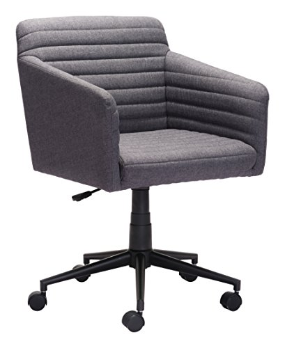 Modern Zuo Desk Modern (Zuo Modern 100959 Bronx Office Chair, Dark Gray, Wrapped in Beautiful Linen-like Fabric, Cushioned Seat and Arms, Sturdy Casters, 250 lbs Weight Capacity, Dimensions 25