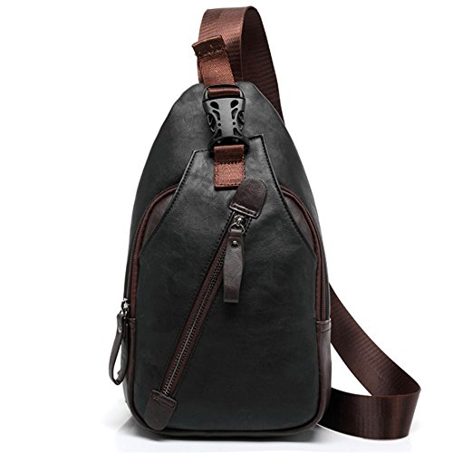 FREEMASTER Sling Pack Chest Bag Men's Small Shoulder Backpack PU Bag Outdoor Cross Body Bags Retro Bag Walking Hiking Camping Gym Cycling Daypack