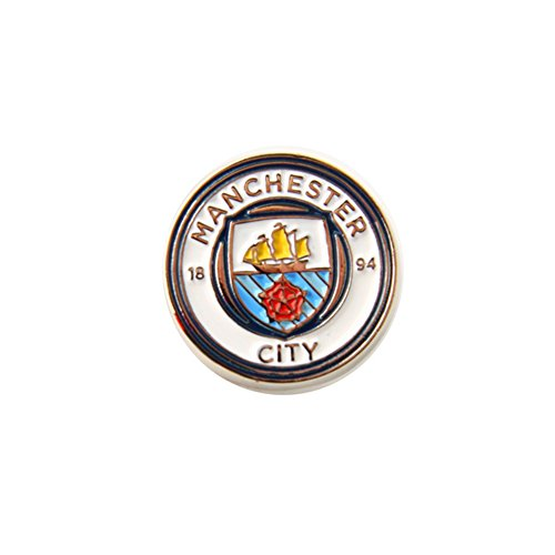Crest Pin Badge - Manchester City FC Official Football/Soccer Crest Pin Badge/Button (One Size) (White/Silver)