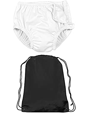 Iplay Unsex Baby Girl or Baby Boys Cloth Reusable Swim Diaper and Drawstring Bag