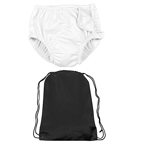 Iplay Unisex Baby Boys or Baby Girls Reusable Diaper Swimsuit and Bag White 6M