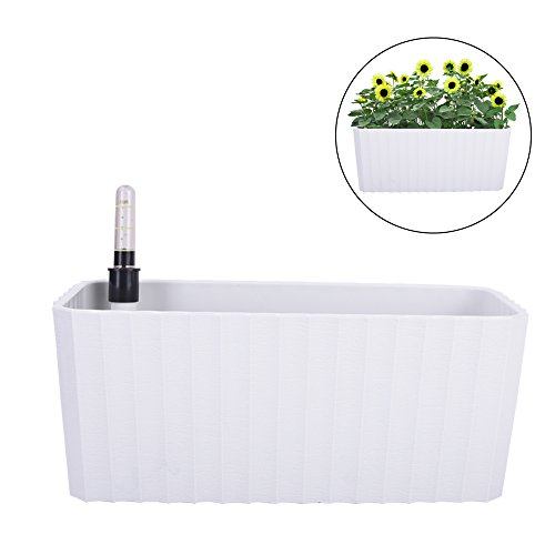 Vencer 11 Inch Plastic Rectangle Self Watering Planter,Water Indicator,Modern Decorative Planter Pot for All House Plants Flowers,Herbs,Vegetables,Tropical,White,VF-092 by Vencer