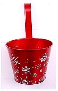 Geschenkestadl–Macetas Juego Maceta 16cm Maceta en rojo con diseño de copos de nieve navideño