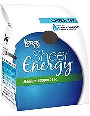 Leggs Womens Sheer Energy Control Top, Reinforced Toe Pantyhose 6-Pack