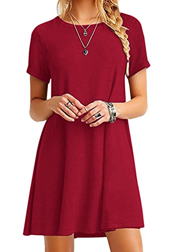 4 Red Women OMZIN 4XL Sleeve 18 Plus Tops Short Size Shirt Loose T Dress XS Casual US fTBRHT6
