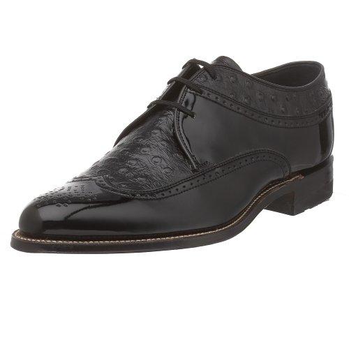 Stacy Adams Men's Dayton Ostrich Oxford,Black,10 D Ostrich Print Leather Shoes