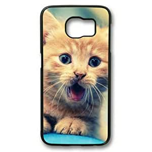 Personalized Case, Sakuraelieechyan Black Sides Hard Plastic Case for Samsung Galaxy S6 Edge With Cute Cat