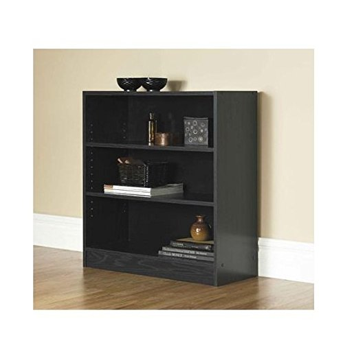 Mylex Mainstays 3-Shelf Bookcase | Wide Bookshelf Storage Wood Furniture (Black, 1)