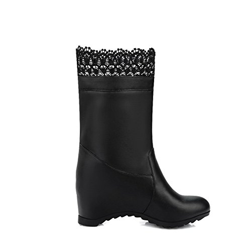 Damen Allhqfashion Stiefeletten High Pull Schwarz Feste PU Heels On pHvfdxqT