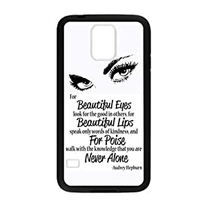 Audrey Hepburn Beautiful Eyes Never Alone Quote Custom Laser Technology Print Images Samsung Galaxy S5 TPU Case by Maris's Diary
