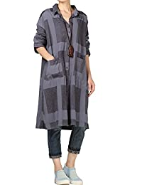 Mordenmiss Women's Fall Single Buttons Down Plaid Blouse Dress with Pockets