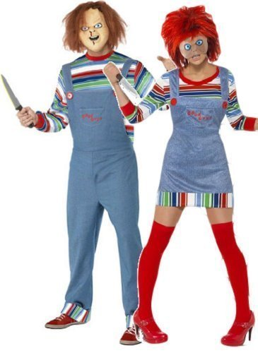 Horror Costumes For Couples (Fancy Me Women's And Chucky Doll Film Couple Halloween Horror Fancy Costume UK 8-10 & Mens Large Multicoloured)