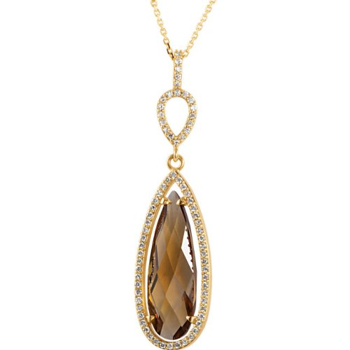 7.5 Ct Honey Quartz Pear and 1/3 Diamond Halo Necklace in 14k Yellow Gold, 18'' by The Men's Jewelry Store