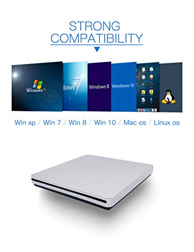 External CD DVD Drive, Haiway Portable Slot-in CD/DVD Re-Writer Burner Super Drive High Speed Data Transfer for Laptop Desktop PC Win 7/8/10 Linux OS Apple Mac(Type-C) by Haiway88 (Image #4)